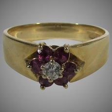 14 Karat Ruby and DIamond Ring by Hubertus Von Skall  Circa 1970