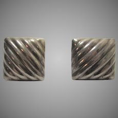 Sterling Silver Clip On Earrings Square Ribbed