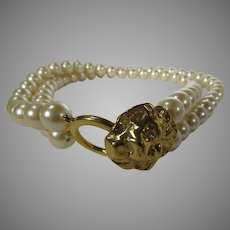 Vintage Kenneth J. Lane for Avon Double Strand of Faux Pearls with Goldtone Lion Head Clasp