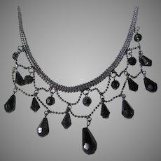 Edwardian Style Liz Claiborne Necklace with Faux Onyx Drops