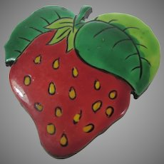 Strawberry Laquerware Pin Made in West Germany