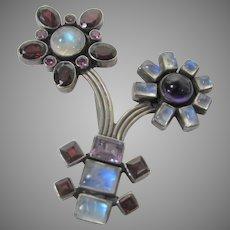 Sterling Silver Modernist Statement Floral Gemstone Pin