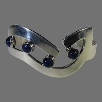 Sterling Silver Mexican Cuff With Four Lapis Lazuli Accents