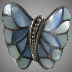 Sterling Silver Mother of Pearl Butterfly Ring
