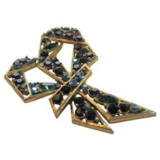 Weiss Signed Modernist Bow Pin With Jewel Toned Crystals