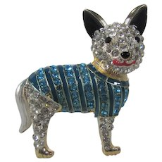 Dog Pin or Pendant Covered in Crystals and Enamel Accents