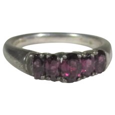 Sterling Silver Garnet Ring in Classic Style