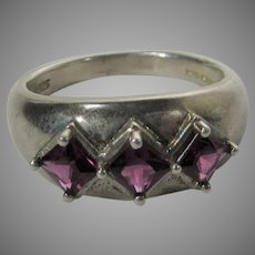 Sterling Silver Ring With Three Square Red Garnets