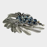 Crown Trifari Silver Tone Pin With Sapphire Crystals
