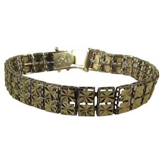14 Karat  Yellow Gold Etched Design Bracelet