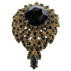 Vintage Mid Century Goldtone Pin or Pendant With Faux Onyx Crystal Accents