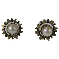 Vintage Cultured Pearl Gold Fill Earrings for Pierced Ears