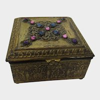 Empire Art Gold Brass Bejewelled Hinged Trinket Box