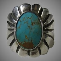 Native American Sterling Silver Ring with Turquoise by Gertie Ganadonegro