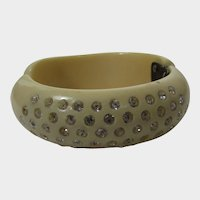 Mid Century Clamper Creamy Hinged Cuff Bracelets with Lots of Crystals