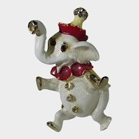 Vintage Capri Dancing Elephant Pin With White and Red Enamelling