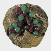 Vintage Benedict NY Goldtone Pin Nest With Faux Turquoise and Red Glass Beads