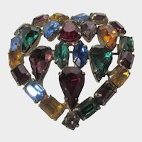 Vintage Multi Crystal Pin in the Shape of a Heart