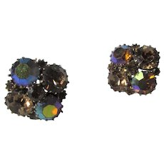 Weiss Signed Clip On Earrings in Aurora Borealis Crystals