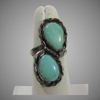 Native American Sterling Silver Ring With Two Large Turquoise Cabochons