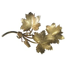 Vintage Hobe 12 Karat Gold Filled Pin In Grape Leaf Form