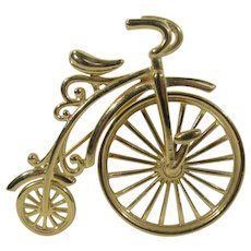 Spinning Wheel Bicycle Pin In Goldtone