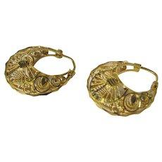 22 Karat Yellow Gold Filagree Hoop Earrings for Pierced Ears