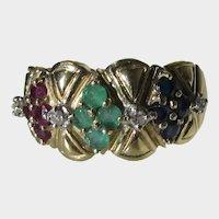 14 Karat Yellow Gold Sapphire, Emerald and Ruby Diamond Ring