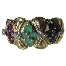 14 Karat Yellow Gold Sapphire, Emerald and Ruby Diamond Ring