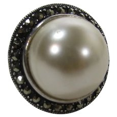 Sterling Silver Marcasite Ring With Faux Mabe Pearl