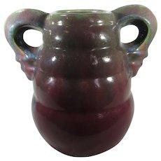 Fulper Double Handled Vase in Maroon and Grey
