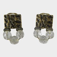 Clip On Earrings With Goldtone Top and Three Crystal Drops Designer Signed