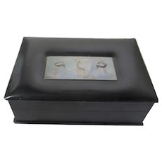 Leather Covered Wooden Box With Animal Engraved Sterling Silver Top Inlay