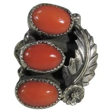 Native American Navajo Sterling Silver Ring With Three Red Coral Cabochons