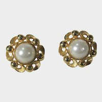 Designer Signed Clip On Goldtone Earrings With Faux Mabe Pearls