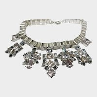 Statement Necklace With Seven Crystal Accents on Chunky Chain