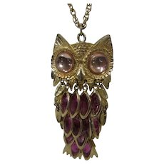 Vintage Goldtone Owl With Pink Crystals Pendant on a Goldtone Chain