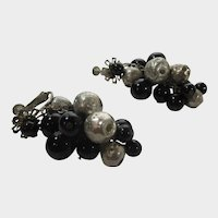 Haskell Clip On Earrings With Black and Silver Tone Beads