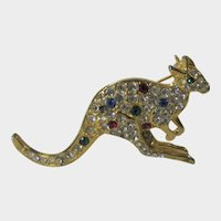VIntage Goldtone Kangaroo Pin Covered in Multi Color Crystals