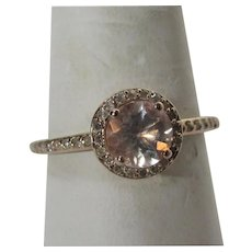 14 Karat Rose Gold Morganite With Diamond Accents Ring