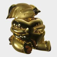Goldtone Pig Holding a Goldtone Heart Signed JJ