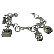Vintage Silver Tone Charm Bracelet With Four Charms