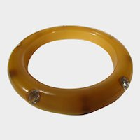 Vintage Lucite Golden Moonglow Bangle With Crystal Accents
