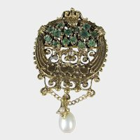 14 Karat Yellow Gold Emerald Pendant or Pin With Freshwater Pearl Accent