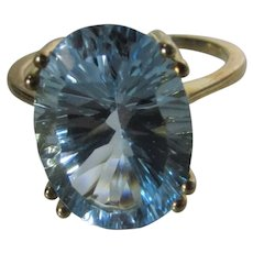10 Karat Yellow Gold Fantasy Cut Blue Topaz Ring