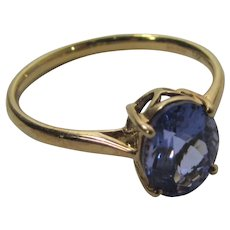 18 Karat Yellow Gold Tanzanite Solitaire Ring