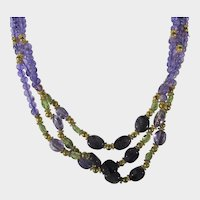 Amethyst and Peridot Beads with Gold Filled Findings Necklace