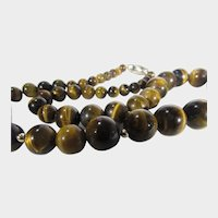 Tiger's Eye Graduated Bead Necklace With Goldtone Findings and Magnetic Clasp