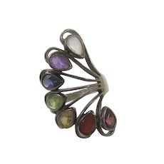 Sterling Silver With Multiple Colored Crystals in Fan Shape
