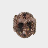 14 Karat Rose Gold Morganite With Diamond Ring